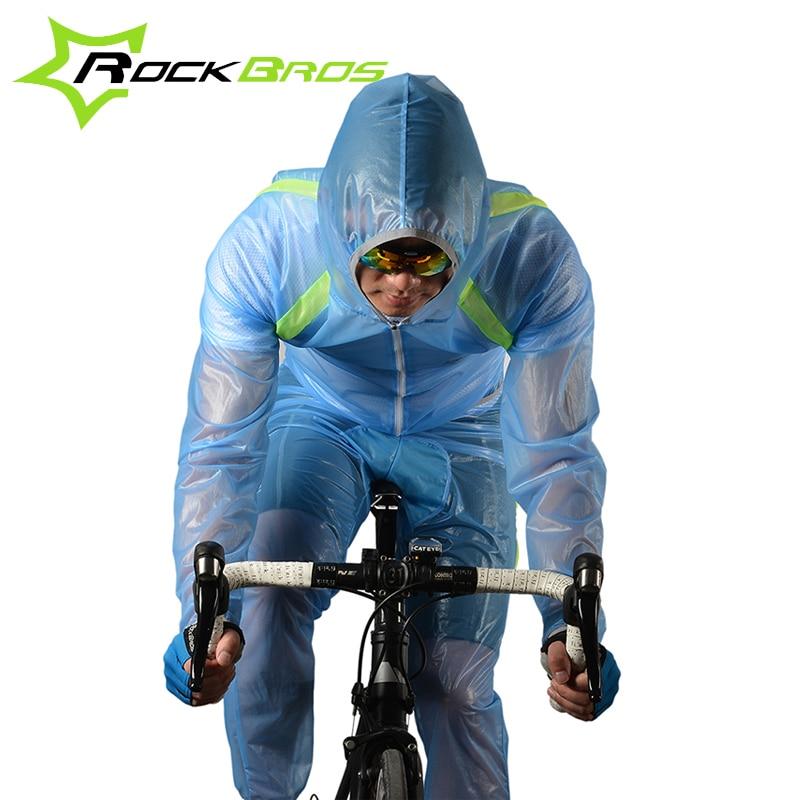 Prix pour ROCKBROS Vélo Imperméable Route Montagne De Vélo Imperméables Pluie Vestes Ensemble Hommes Vélo Poncho Veste À Capuche Imperméable Costume 3 Couleurs
