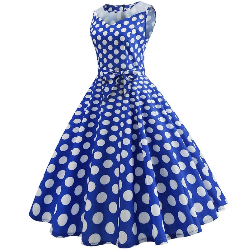 Retro letné párty šaty 1950 s bodkami Swing style (8 variánt) 19