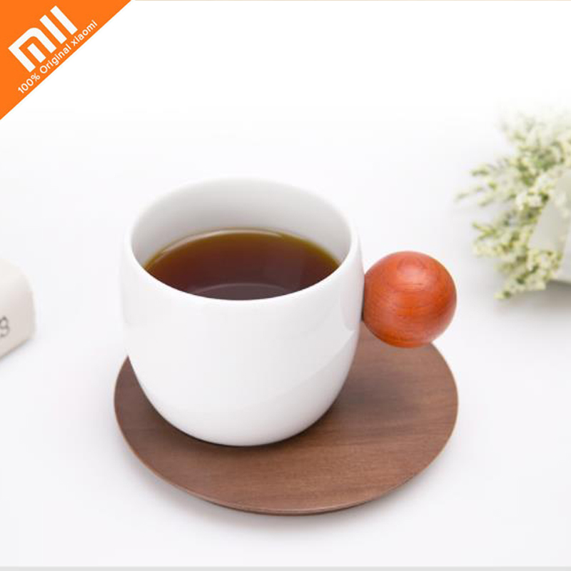 4ps Xiaomi Planet Coffee Cup Exquisite Ceramic Porcelain Wooden Cup with Cup Mat Holder for Cafe