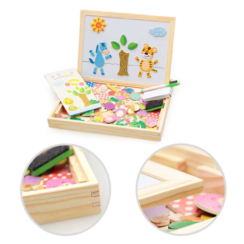 100 PCS Wooden Magnetic Puzzle Figure Animals Vehicle Circus Drawing Board 5 styles Box Educational Toy Gift in Drawing Toys from Toys Hobbies