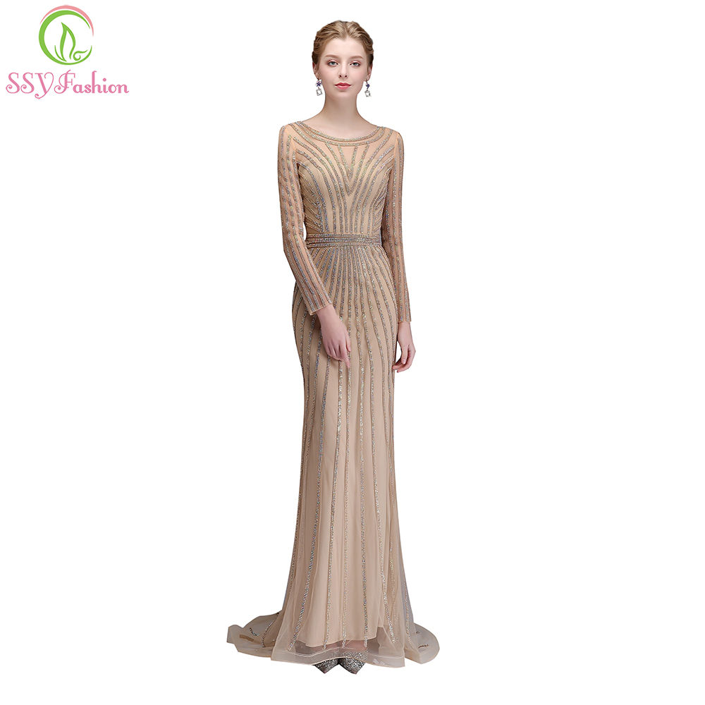 SSYFashion New High-end Evening Dress Luxury Banquet Bling Bling Gold Sequin  Long Sleeved Mermaid 5e68a10c6