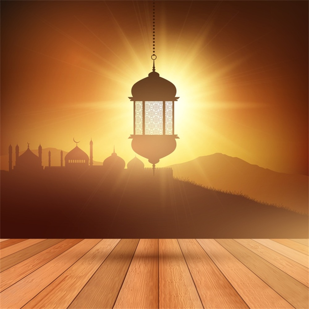 Laeacco Mosque Eid Mubarak Lamp Wooden Floor Scene Photographic Backgrounds Customized Photography Backdrops For Photo Studio