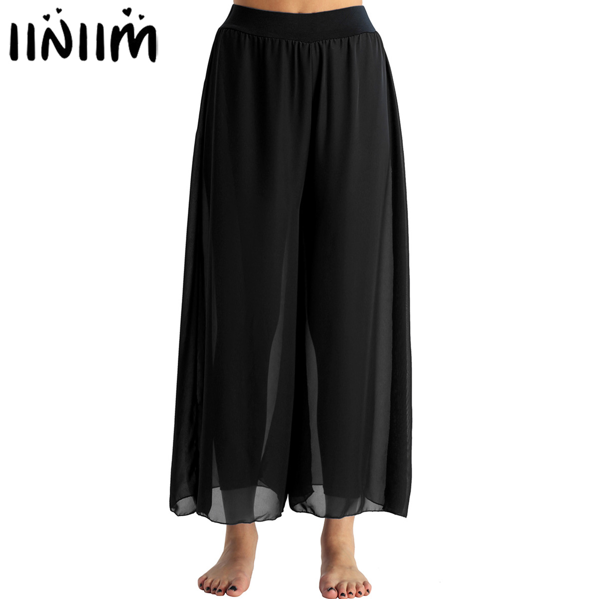 Womens Ballerina Dancewear Flowy Chiffon High-waisted Belly Dance Loose Wide-leg Pants Adult Performance Costume Dance Pants