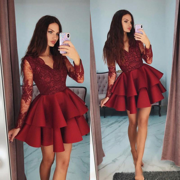 Red V Neck Homecoming Dresses Tiered Long Sleeve Beaded Lace Applique Short Prom Dress Lovely Fashion Celebrity Party Dresses