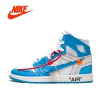 Original Authentic NIKE Air Jordan 1 X Off White Men's Basketball Shoes Sneakers AJ1 Sports Outdoor Good Quality Designer AQ0818