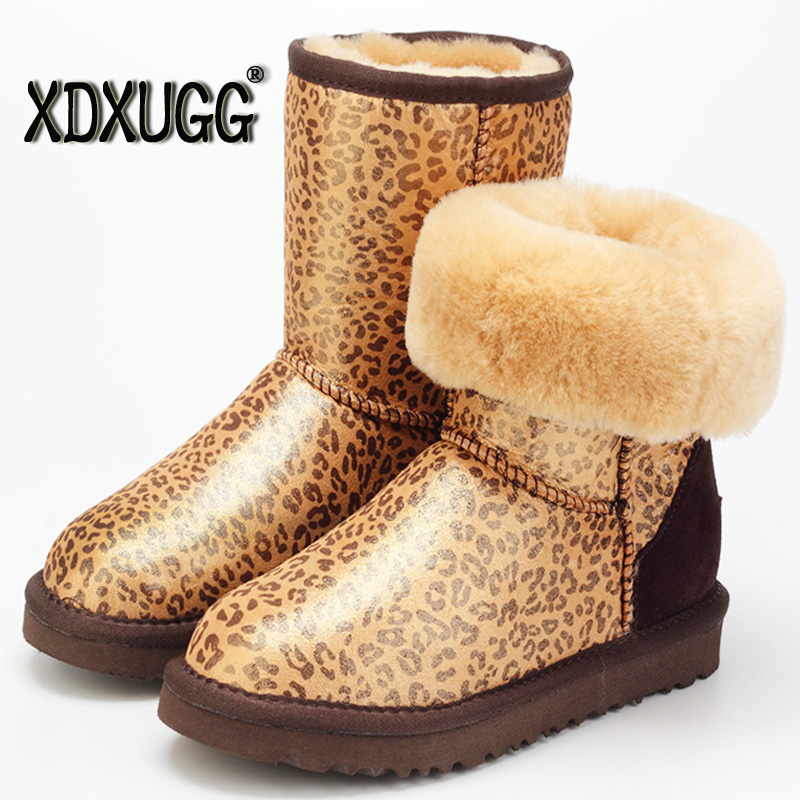 High Quality! genuine Sheepskin Real Fur 100% Wool women winter snow boots  mid-calf , China Brand boots Free Shipping