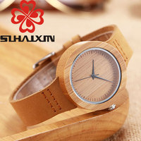 SIHAIXIN Natural Bamboo Wood Watches Women Fashion Quartz Ladies Watch Leather Strap Analog Health Breative Relogio