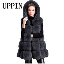 UPPIN 2017 Winter Coat Women Thick Faux Fur Vest Hooded Fox Fur Vest Middle-long Paragraph A Word Big Pendulum Gilet Veste 5xl(China)