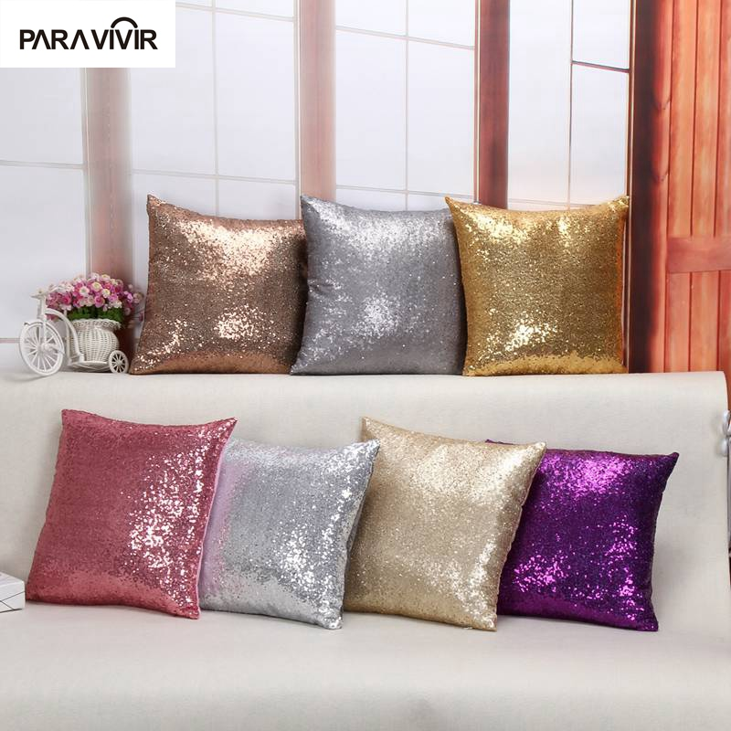 Solid Color Mermaid Glitter Sequins Cushion Covers For Home Decor Square 40 40 Cm Bling