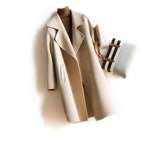 2018 зимняя куртка для женщин ручной работы кашемир 100% одноцветное цвет шерстяное пальто Кашемир Тренч Элегантный длинное