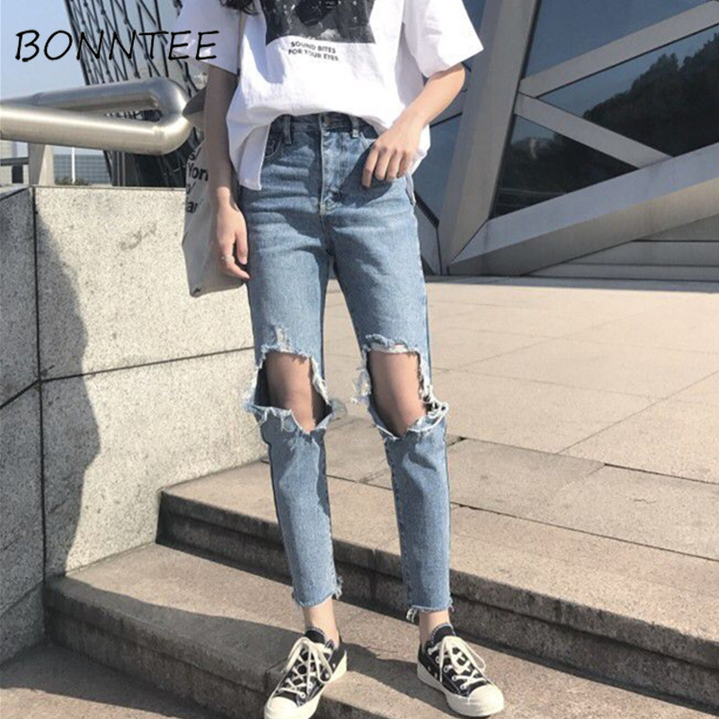 Jeans   Denim Women Holes Zipper Pockets Straight Pants Casual Womens Slim High Waist All-match Vintage Chic Korean Style Daily