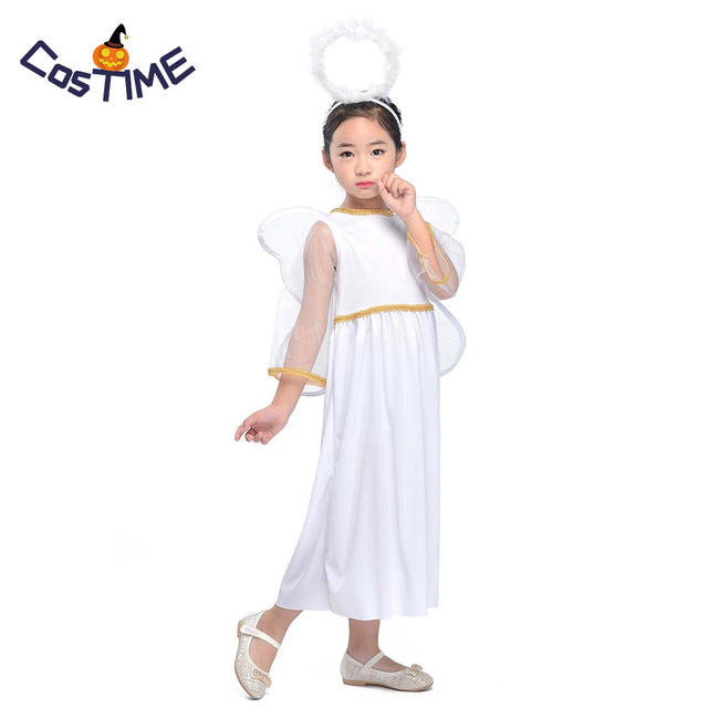 54cd61228287 Kids Angel Costume Heaven Sent Girls Roleplay Nativity Cherub Fancy Dress  Xmas Carnival Costume Halloween Outfit with Wings
