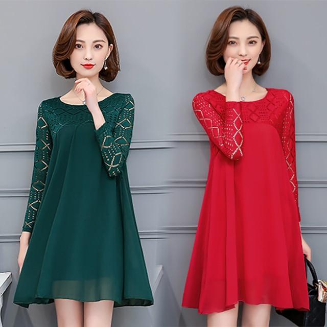 6e5b7ae7856 4xl plus big size women clothing 2017 spring autumn winter korean vestidos  lace long sleeve chiffon casual dress female Y0581