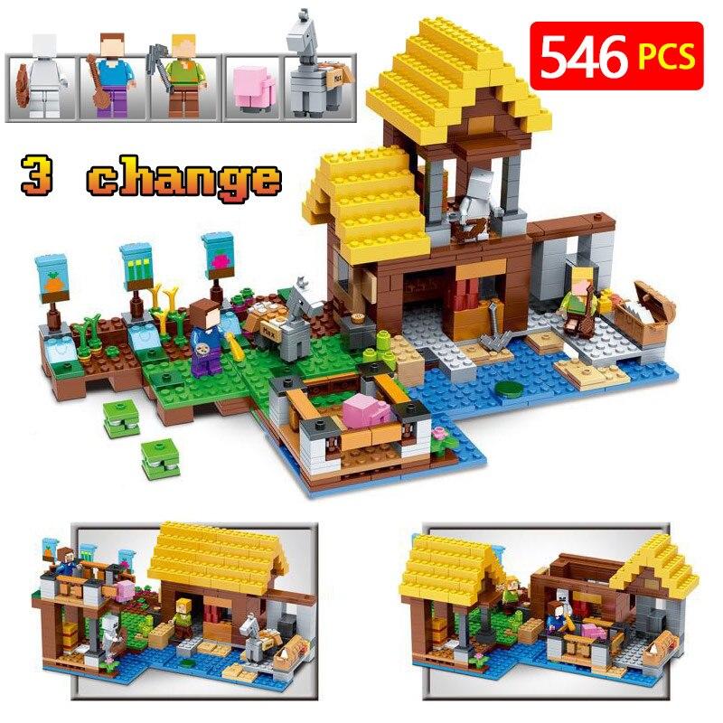 New Technic LegoINGLYs Minecraft Village 21144 Toys For Children Classic The Farm Cottage DIY Bricks Mini Action figures