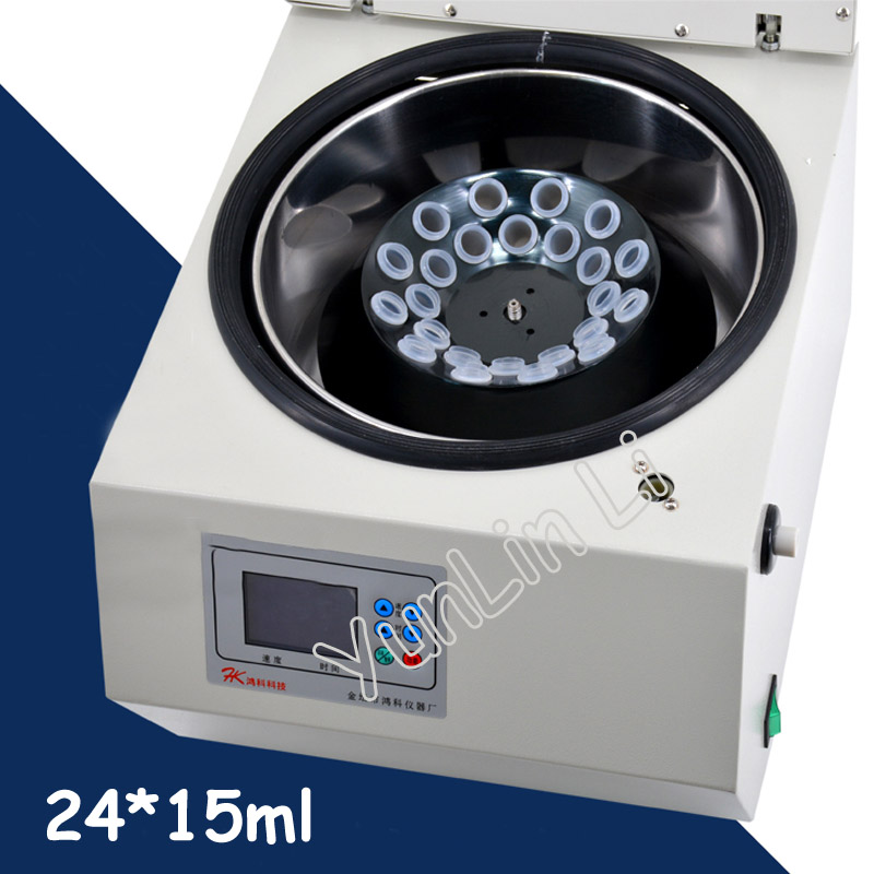 24*15ml Digital Laboratory Centrifuge LCD Type Centrifuge with Plastic Tubes and Rolled Aluminum Rotor 15ml 100pcs lot plastic centrifuge tube pp microcentrifuge centrifuge tubes with screw cap plastic test sample vials clear