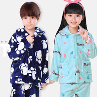 2015 Girls Boys Autumn Winter Clothes Flannel Pyjamas Pijamas Kids Pajamas Sleepwear Coral Fleece Nightwear Suit