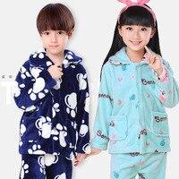 Dziewczęta i Chłopcy Jesień Zima Ubrania Flanelowe Piżamy Dziewczyny Pijamas Dzieci Piżamy Chłopcy Piżamy Koral Polar Nocna Zestaw Homewear