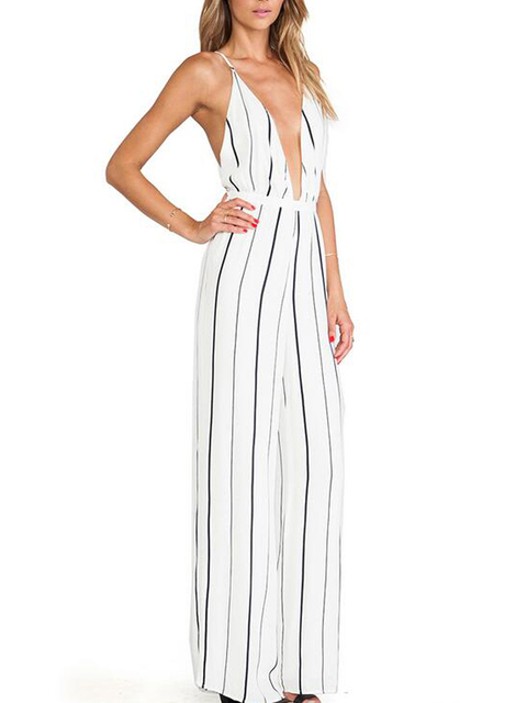 Strap Plunge Deep V Neck Sexy Backless Loose Vertical Striped Print White Wide Leg Jumpsuit Romper Casual Palazzo Pants