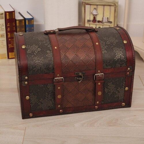 Pas cher rétro accessoires boîte de rangement boîte de rangement boîte de rangement antique en bois coffre au trésor chambre trois pièces