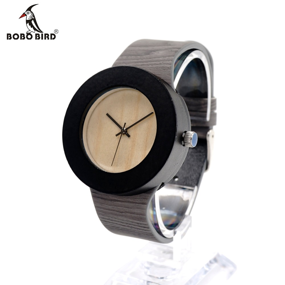 BOBO BIRD H09 Ebony Wood Quartz Watch Women Top Brand Luxury Wooden Watch With Japanese Movement Real Leather Strap For Ladies bobo bird bamboo wood quartz watch men women japanese majoy movement soft silicone strap casual ladies watch wristwatch for gift