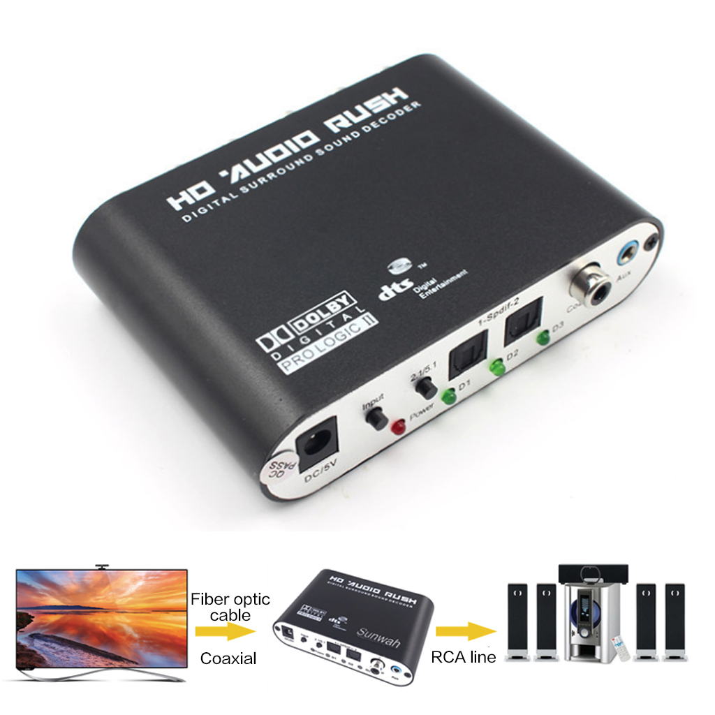 5.1 Canais DTS Dolby/AC3 AUX Decodificador de Som Surround Digital SPDIF Coaxial Para Analógico RCA Digital-para- conversor analógico