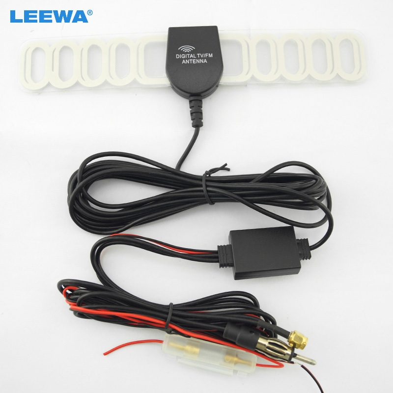 LEEWA Car SMA Connector + AM/FM Connector TV Raido Antenna Aerial 2IN1 #CA2045