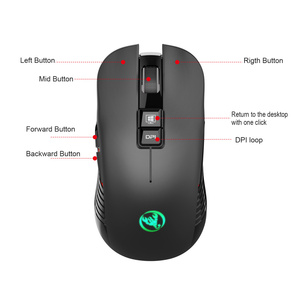 Image 4 - HXSJ new wireless charging mouse 7 color light 3600DPI gaming mouse wireless support USB and Type c interface black mute Mice