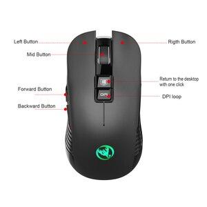 Image 4 - HXSJ nuovo wireless di ricarica del mouse 7 luce di colore 3600DPI gaming mouse senza fili del mouse USB di sostegno e di Tipo c interfaccia nero muto Mouse