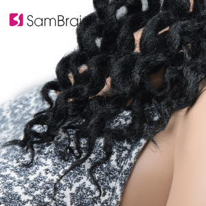 Image 4 - SAMBRAID Faux Locs Curly Crochet Hair Crochet Braids 24 Inch Braiding Hair Extensions Synthetic Hair For Women