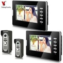 YobangSecurity 7″ Video Intercom Visual Doorbell Kits Door Phone System IR Night Vision intercom 2 Camera 2 Monitor for Home