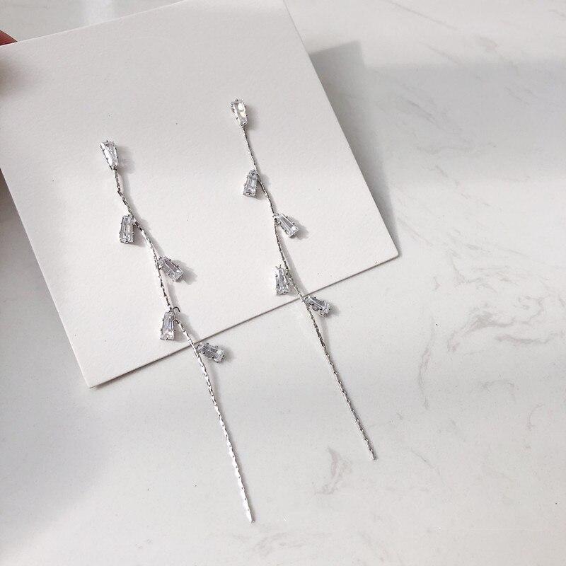 Dominated 2019 Long Leaves Tassel Crystal Earrings Fashion Contracted Joker Women Drop Earrings Jewelry