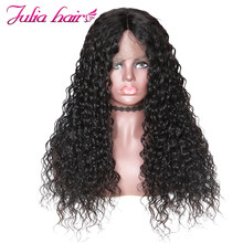 Ali Julia Hair 360 Lace Front Human Hair Wigs Brazilian Water Wave Wig 150% 180% Density With Baby Hair Natural Color Remy(China)