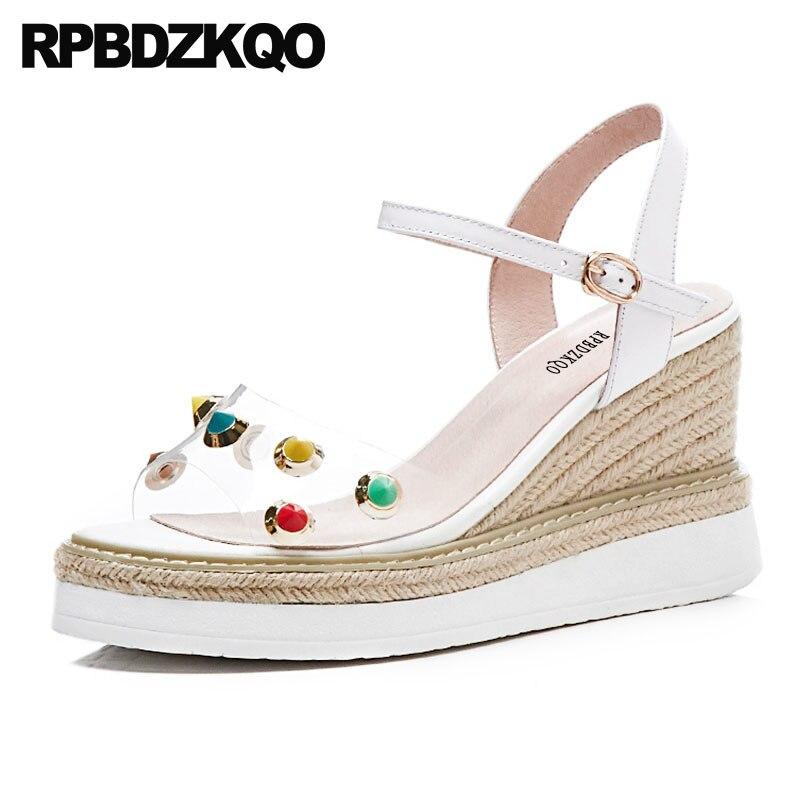 все цены на Stud Rivet Pvc Rope Designer Summer Pumps Shoes Women Wedge Platform Sandals Strap Ladies Slingback White Luxury 2018 Strappy