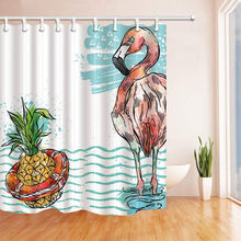 Tropical Seaside Decor, Pineapple and Flamingo in Sea Waves, Mildew Polyester Fabric Shower Curtains for , Shower Curtain Hook(China)