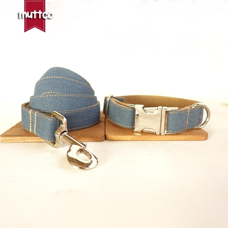 MUTTCO retailing unique design fashionable handmade dog collar THE BLUE JEAN dog collar and leash set 5 sizes UDC003