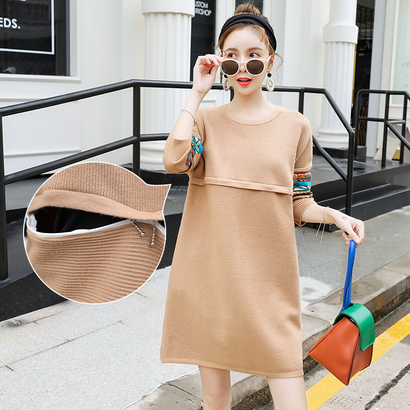 Maternity Nursing Sweater Dress Knitted Breastfeeding clothes Autumn Pregnant Dress Breast Feeding Clothes H289 цена 2017