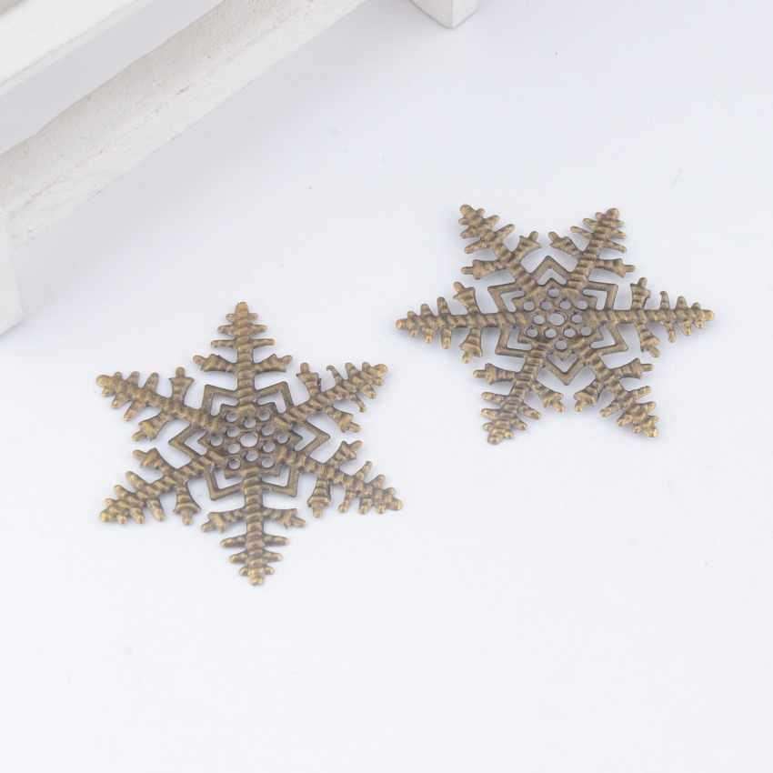 Darmowa wysyłka detaliczna 5 sztuk Antique Bronze filigran Snowflake okłady złącza metalowa dekoracja rzemieślnicza DIY ustalenia 45x45mm