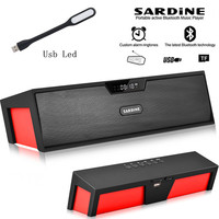 Big power 10W Sardine HIFI portable wireless bluetooth Speaker Stereo Soundbar TF FM radio subwoofer column