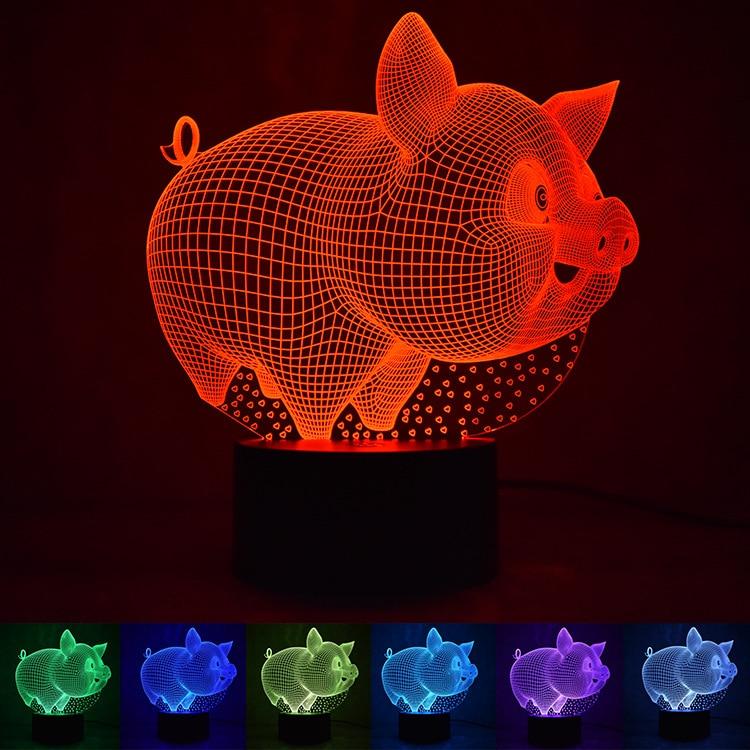 Novelty 3D Pig Pet LED Night Light Children 3D Luminaria Lamp Atmosphere Bedroom Nightlight Holiday Chirstmas Party Decoration
