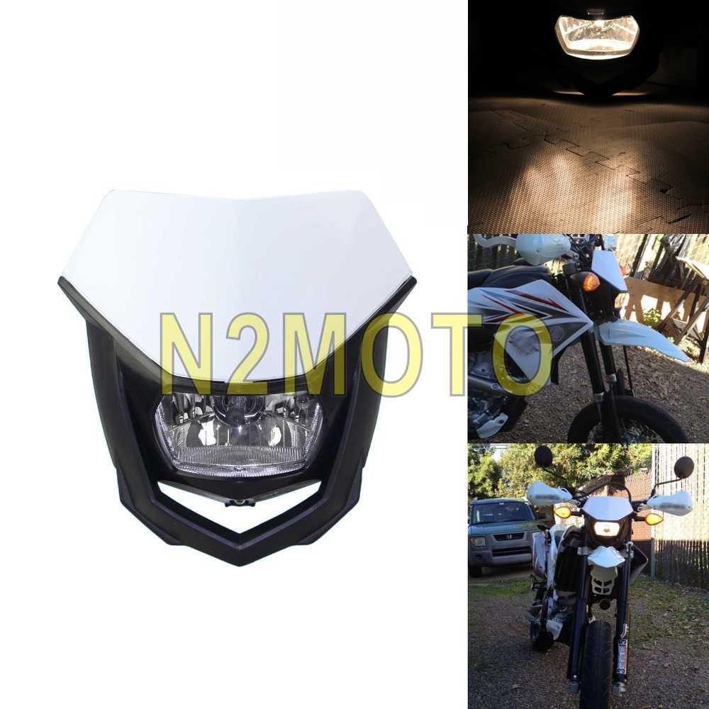 Motocross White Headlights Headlamp Streetfighter Motorcycle Dirt