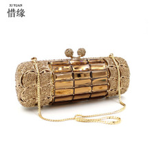 Women Clutches Purses Handbags Wedding-Dress Crystal Diamond Metal Gold Designer BRAND