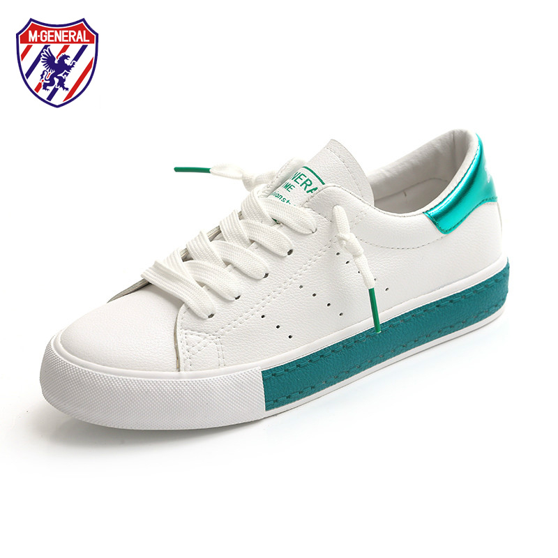M. GENERAL Women White Shoes 2018 Spring Summer New Mixed Colors Leather Casual Shoes Vulcanized Shoes Preppy Style Sneakers m genreal 2017 new women white shoes all match summer breathable leather shoes vulcanized casual shoes candy color lace 35 39