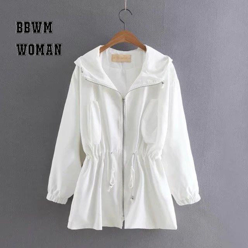 White and Black Women   Trench   Coat 2018 New Autumn Sweet Girl Fold Design with Rope Outerwear Windbreaker ZO433