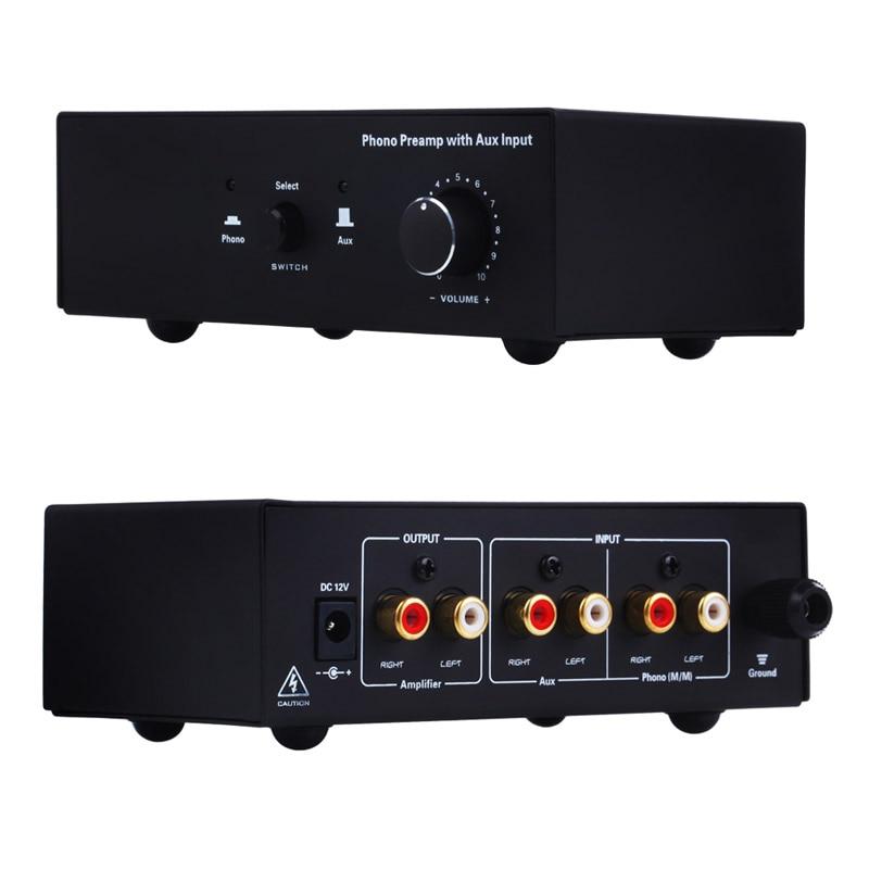 Phono platine vinyle préampli Signal amplificateur préphonographe avec entrée auxiliaire contrôle du Volume HJ55 - 4