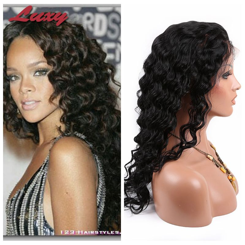 Rihanna Hairstyle! African american wigs brazilian  kinky curly full lace human hair wigs lace front human wigs bleached knots