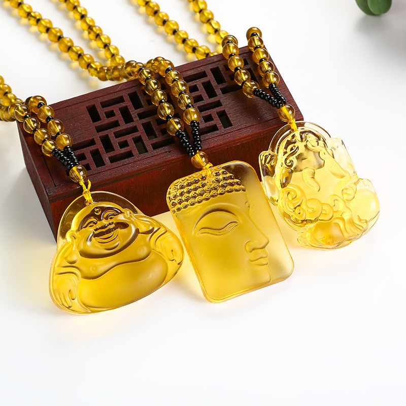 Pendant Necklace Fine-Jewelry Natural-Stone Buddha Yellow Crystal Women Carved High-Quality