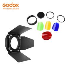 Godox BD-08 drzwi stodoły z siatką o strukturze plastra miodu i 4 kolorowe filtry żelowe do Godox AD400Pro zewnętrzna lampa błyskowa (czerwony żółty niebieski zielony) tanie tanio