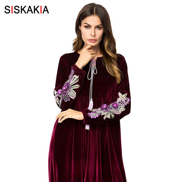 Siskakia Velvet Embroidered Long Dress Autumn Winter 2018 Maxi Dresses for Women Muslim Dubai Arab Casual Robes Eid Adha Ramadan