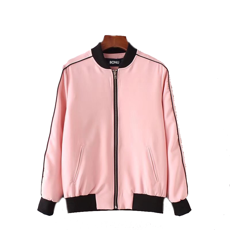 Autumn Casual Female   Jacket   Pocket Zipper Bomber Woman Front Stand Collar Long Sleeve   Basic     Jacket   Coat Outwear