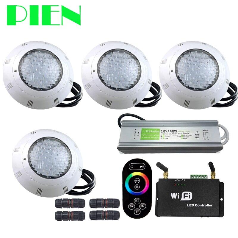 WIFI Sans fil RGB led lampes de piscine Résine fil led Par56 Sous-Marine Luz Piscina IP68 12 V 18 W 42 W avec RF À Distance alimentation 4 pièces